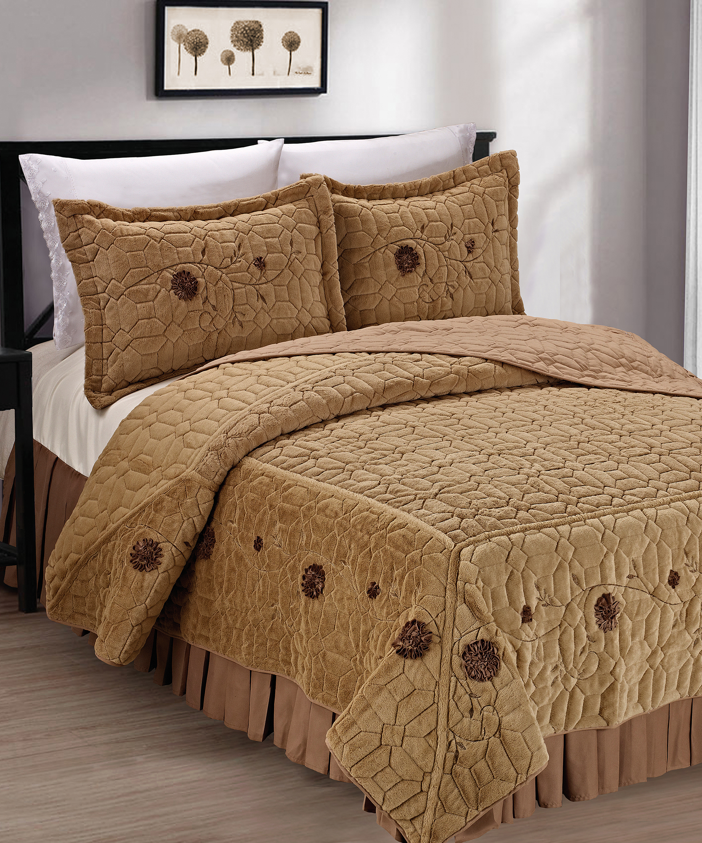 Faux Fur Ribbon Embroidery Bedspread Set Bnf Home Inc