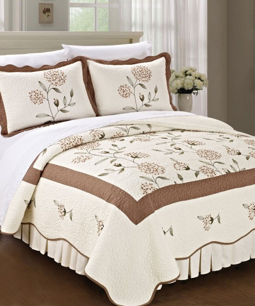 Roses Quilted Microfiber Bedspread Set Bnf Home Inc