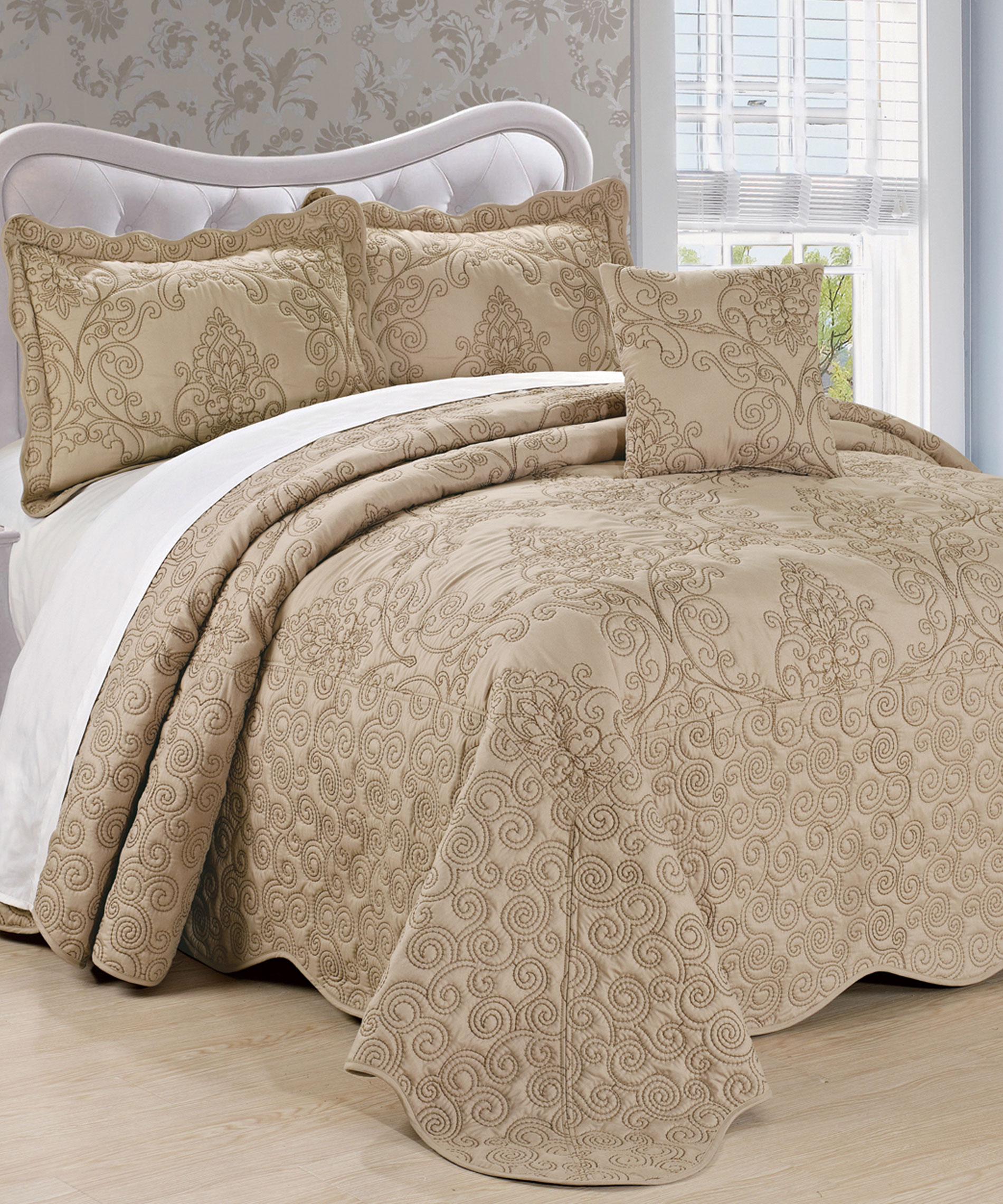 Damask Embroidered Quilted Bedspread Set Bnf Home Inc