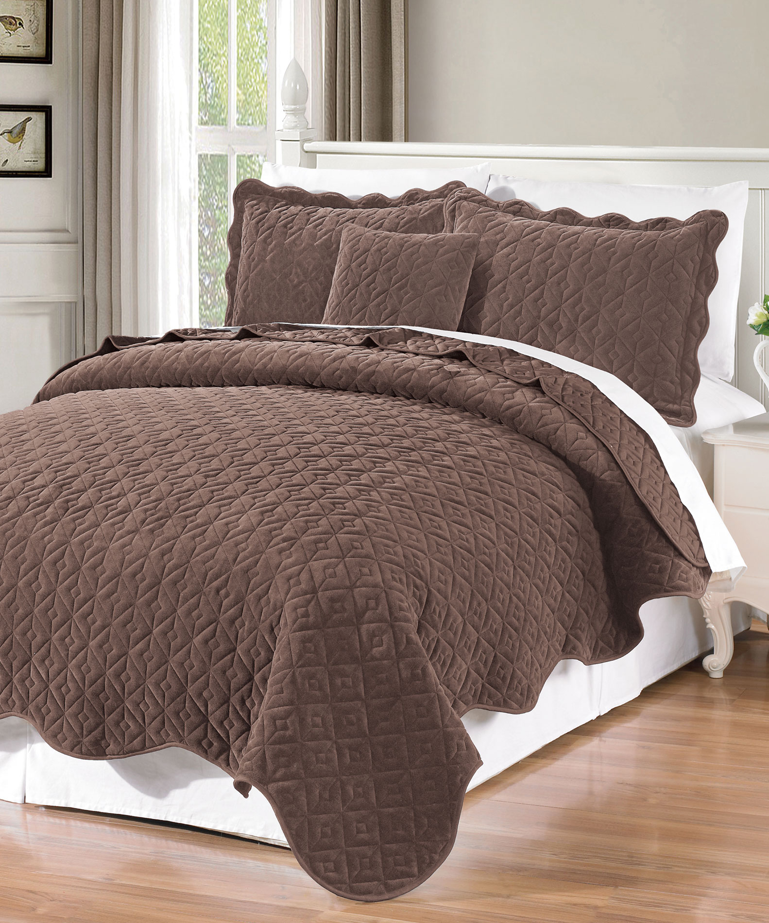 Diamond Flannel Quilted Coverlet Sets Bnf Home Inc
