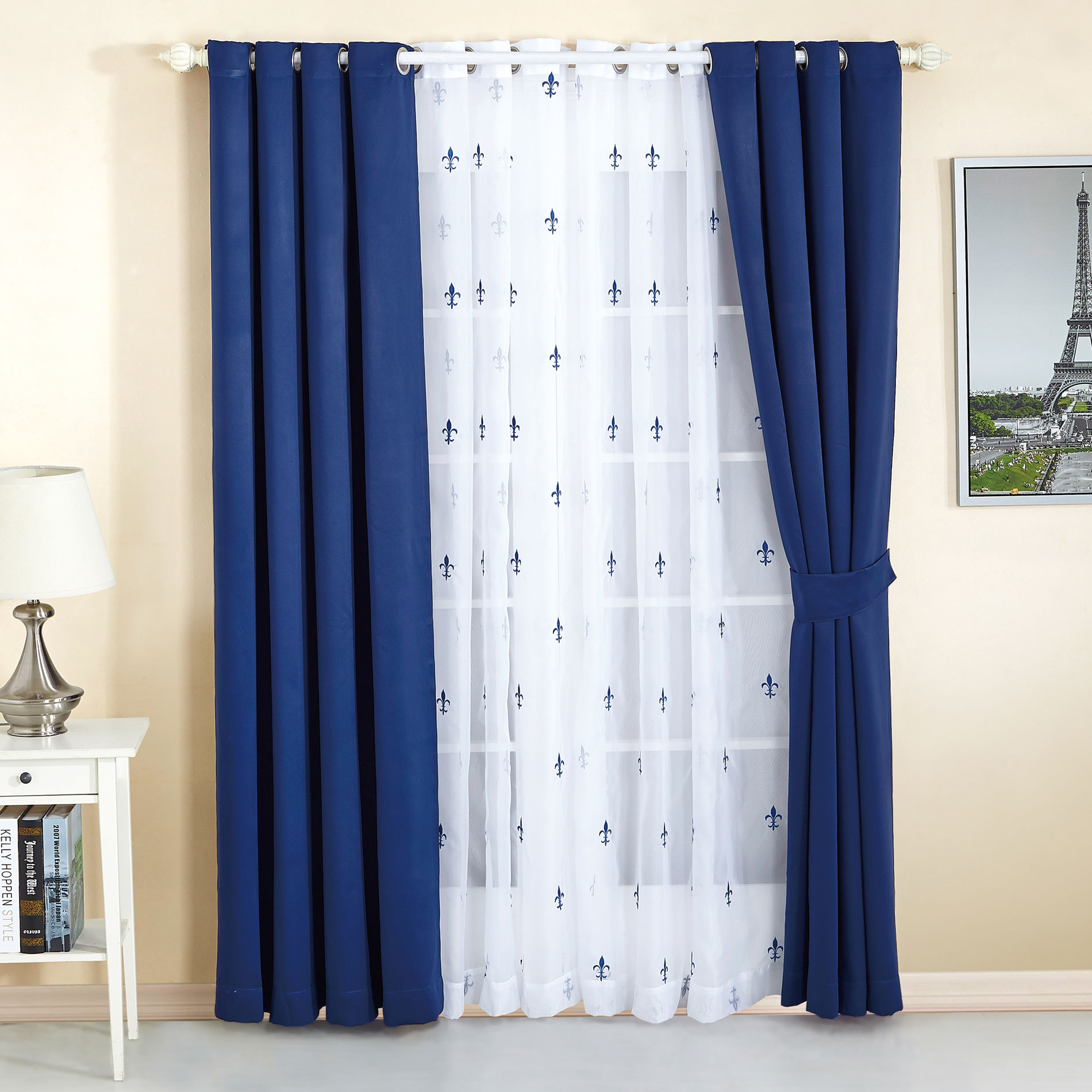 Fleur De Lis Thermal Insulated Blackout Curtain Set | BNF Home Inc