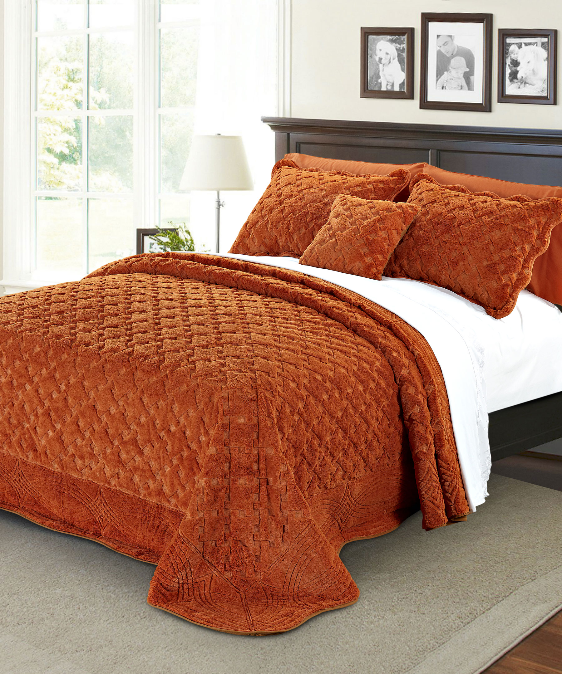 Tatami Quilted Faux Fur Bedspread Set | BNF Home Inc