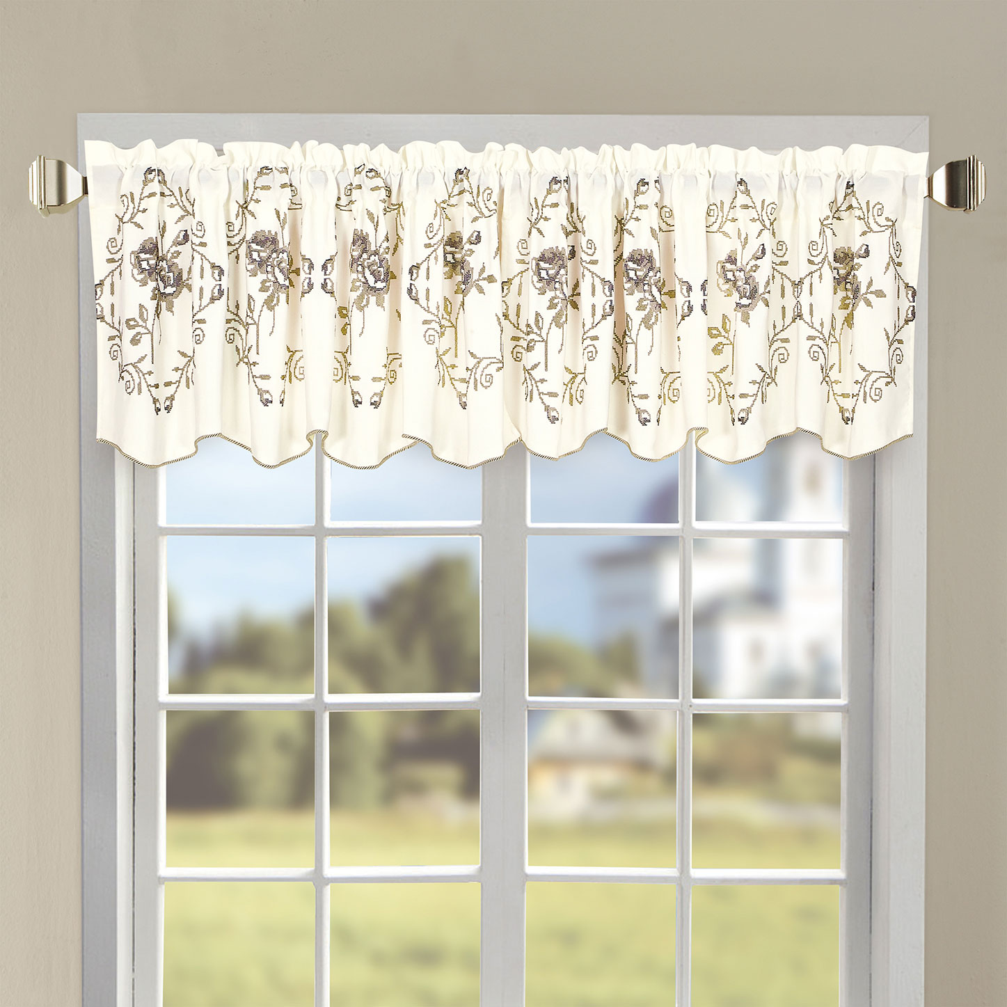 Roses Embroidery Window Curtain Valance Bnf Home Inc